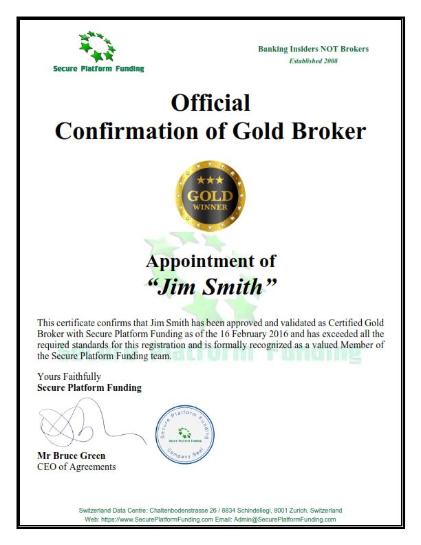 Secure Platform Funding Broker Certificate Gold | Secure