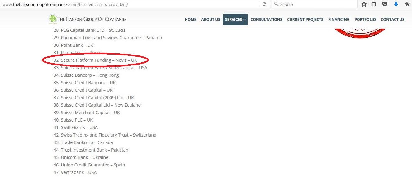 Hanson Website Listing SPF as Banned