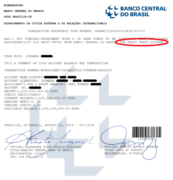 BCB €1B Cash Funds File - Bank Statement (Account balance Summary) - Fraud 1a Example