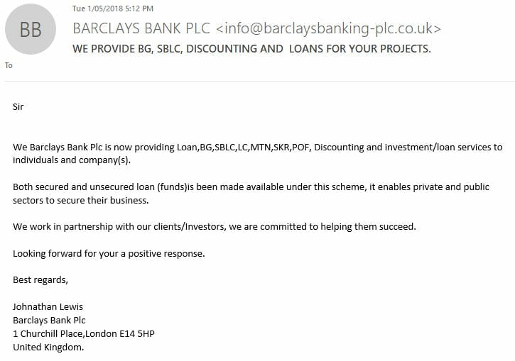 Fake Barclays Email