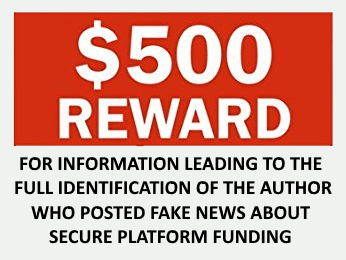 Secure Platform Funding - 500 Dollar Reward Offered