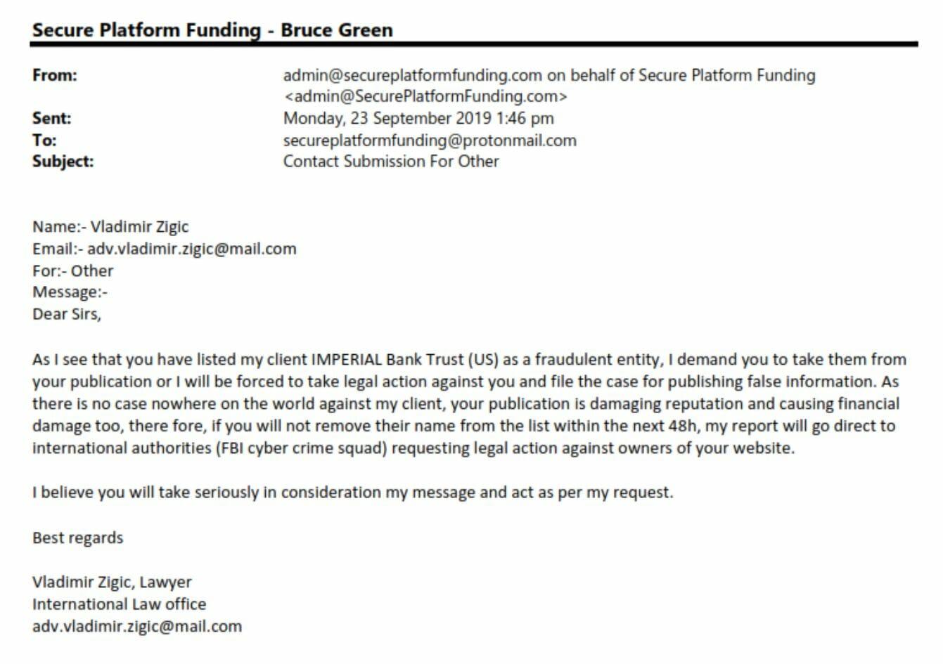 Imperial Bank Trust Complaint
